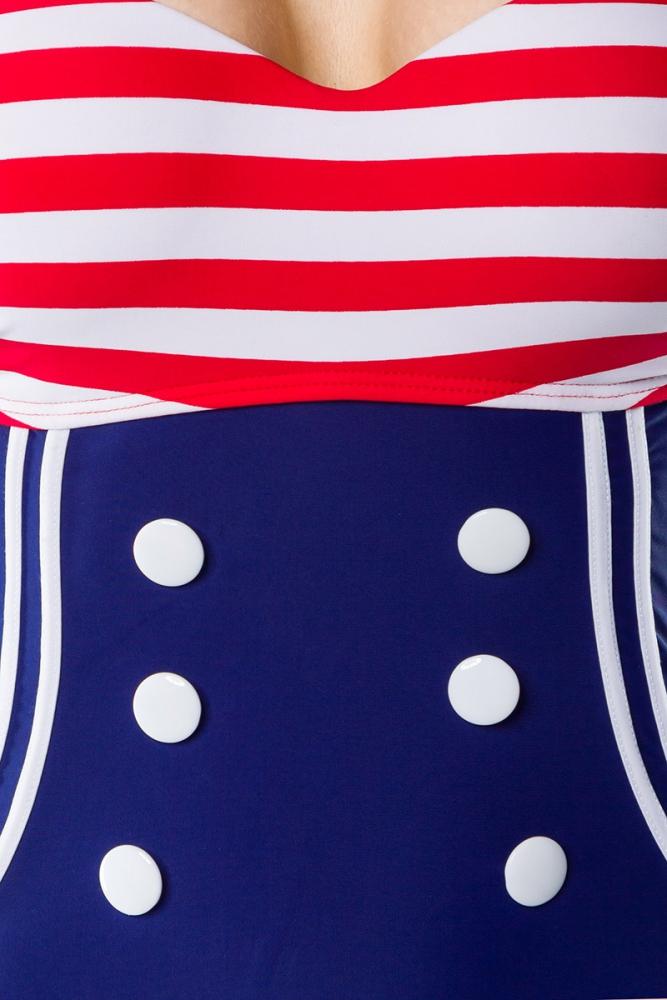 emma vintage-badeanzug mit knöpfen - rot-blau-weiss, 45,00 €, Hause ideen