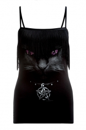 Black Cat Tassel Camisole Top