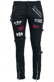 Black Punk Trousers mit Patches