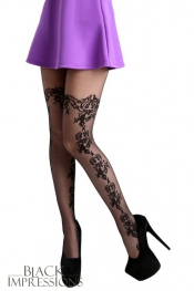 Daisy Lace Floral Tights - Plus Size