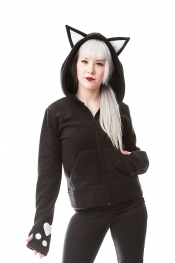Dark Kitty Hood mit Ohren