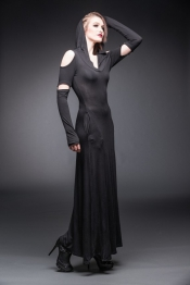 Dramatic Long Hooded Dress with cut out Shoulders