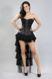 Maya Burlesque-Bustle-Skirt - in Schwarz & Creme