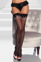 Pinstripe Stockings mit Satinschleife