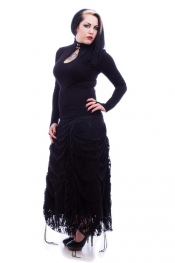 Serida Black Twill and Lace Adjustable Long Skirt