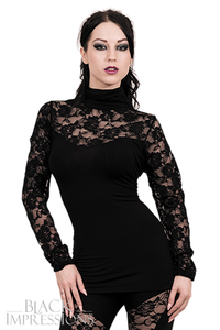 Gothic Elegance High Neck Lace Corset Top