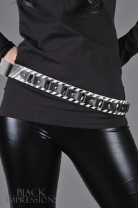 Leather Belt With Small Rings - Stripe Print Black-White