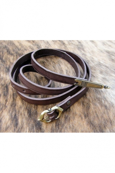 Late Medieval Leather Belt with Belt Ends - Brown-Brass - 160cm