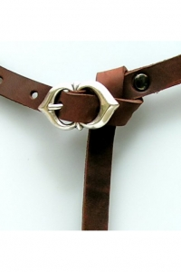 Late Medieval Leather Belt - brown-brass - 160cm