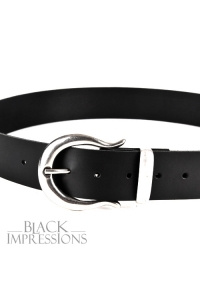Classic Leather Belt IV - black-silver