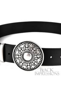 Arabesque Leather Buckle Belt - black-silver