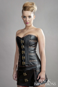 Enchantress Overbust Steampunk Corset in Vinyl - black-brown