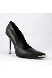 Chrome Stiletto-Pumps aus Kunstleder