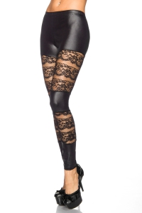Romantic Lace Wetlook-Leggings mit Spitzenbahnen