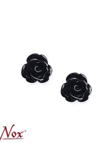 Cute Rose Silver Earstuds - black