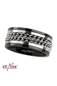 Double Chain Ring - Steel Plated Black