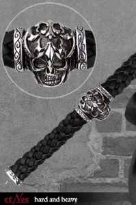 Skull on Woven Leather - Leder-Armband + Edelstahl - in 2...