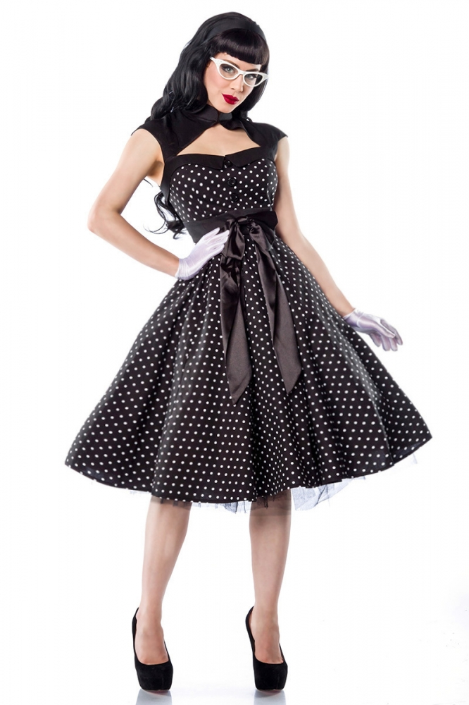 daylene polka dots kleid schwarz weiss m 38 89 95. Black Bedroom Furniture Sets. Home Design Ideas