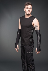 Black Studs Tank Top with Leather Look Details
