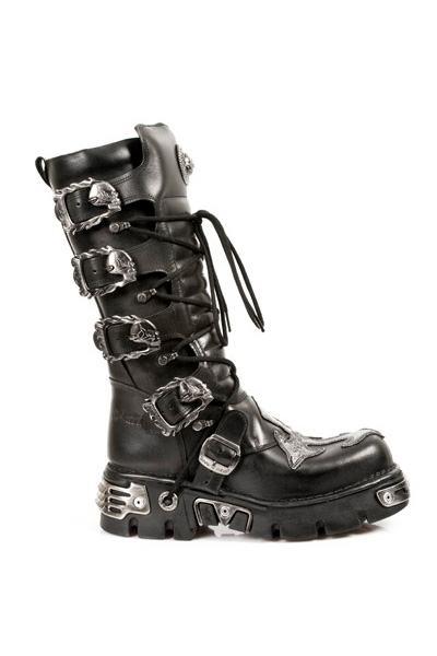 8e4be3a02b25 Reactor High Gothic New Rock Boots mit Kreuzapplikation