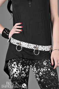 Leather Belt With Medium Rings - White-Black-Leopard