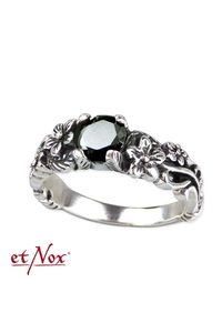 Black Flower Ring Silver Ring with Zirconia