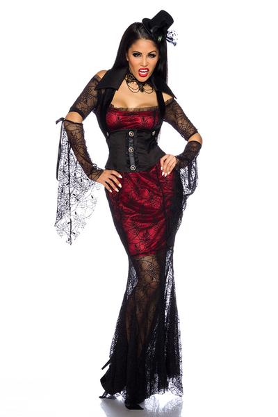 Bloodred Vampire Kostüm *Kleid, Weste, Kragen & Ärmel*,