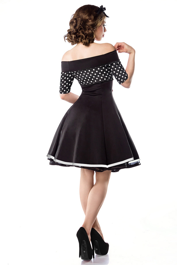 sailor rockabilly kleid mit dots und kn pfen schwarz weiss 47. Black Bedroom Furniture Sets. Home Design Ideas