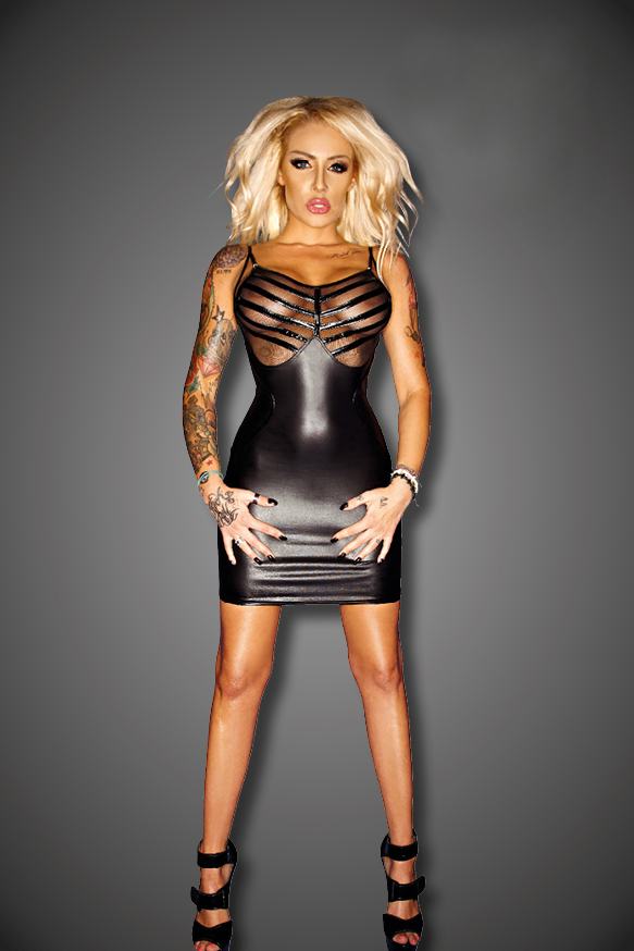 Wetlook Mini Dress With Mesh And Pvc Details 62 90