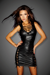 Wetlook Mini Dress with Lacing Details