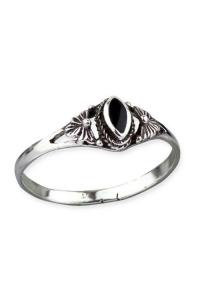 Fine Silver Ornament Ring - Silber 925er + Onyx