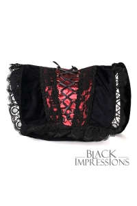 Romantic Corset Velvet Handbag *wine*