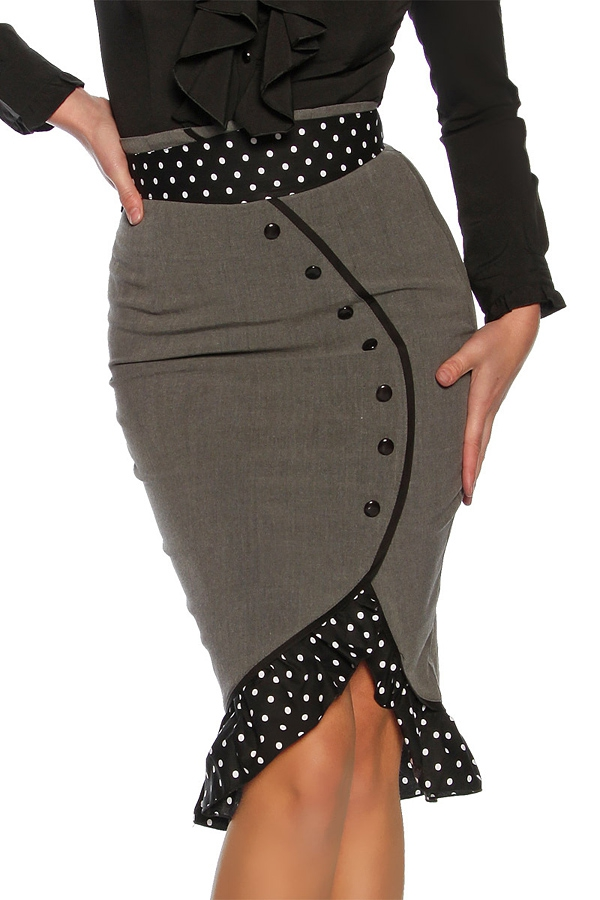 Pencil Skirt With Dotted Belt Grey Black 25 00
