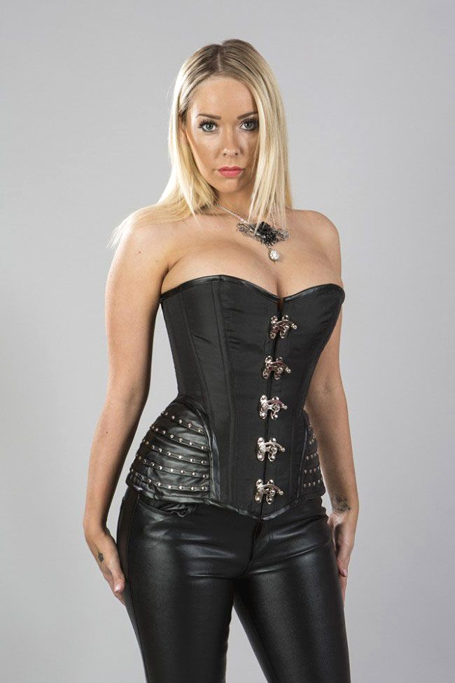 Overbust Corset With Leatherette Hip Panels 89 00
