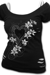 Pure of Heart 2in1 2in1 White Ripped Top Black