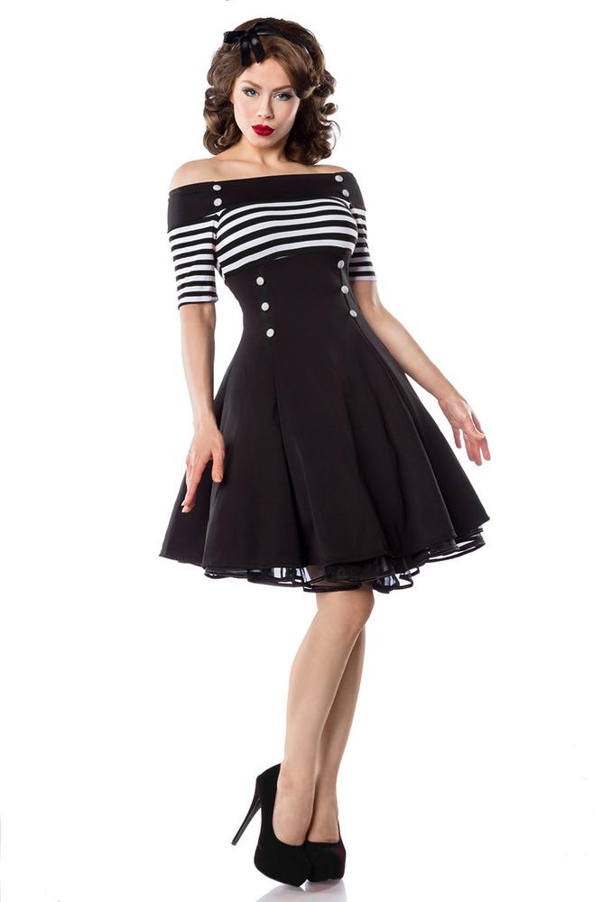 Sailor Rockabilly-Kleid mit Streifen und Knöpfen - Schwarz ...