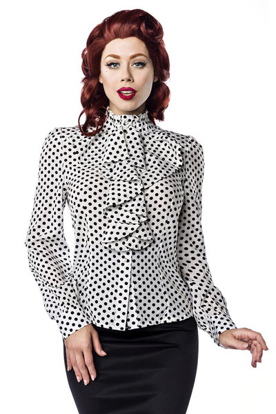 99b3a5409fae5 Vintage Frill Blouse with Polka Dots - white-black