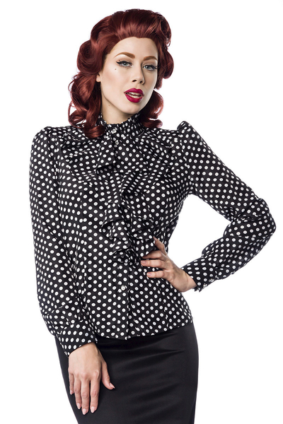 5ec3b390ad2ad Vintage Frill Blouse with Polka Dots - black-white
