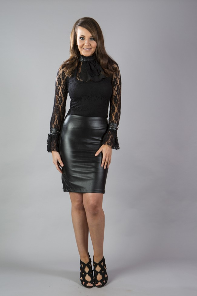 Ruby Knee Length Faux Leather Pencil Skirt In Matte Black