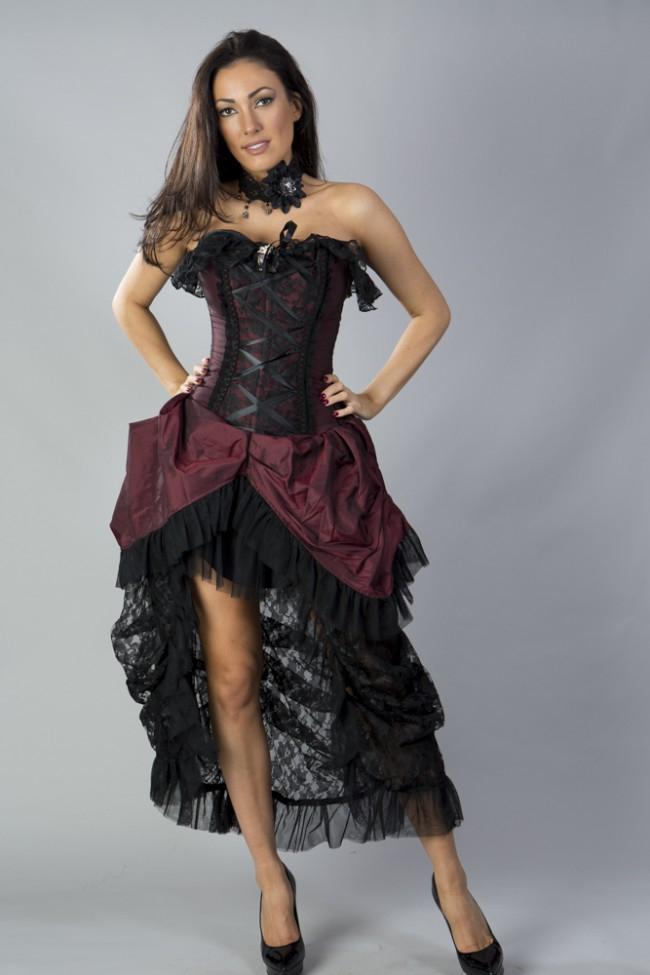 Elizabeth Vintage Corset Dress - Bordeaux, 99,00
