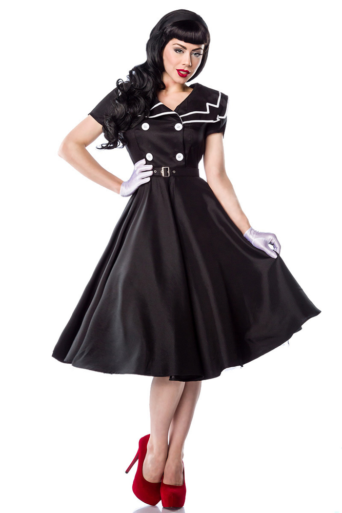 Rockabilly-Kleid im Matrosen-Look - Schwarz-Weiss, 58,44