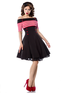 Sailor Vintage Striped Pencil Dress with Buttons - black-red