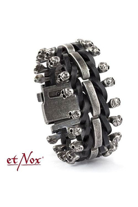 Skulls on Leather Armband - Leder + Edelstahl