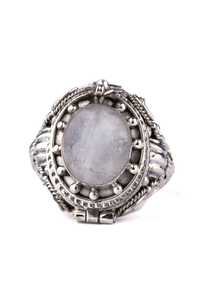 Secret Poison Ring with Moonstone