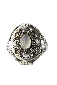 Secret Treasure Poison Ring with Moonstone