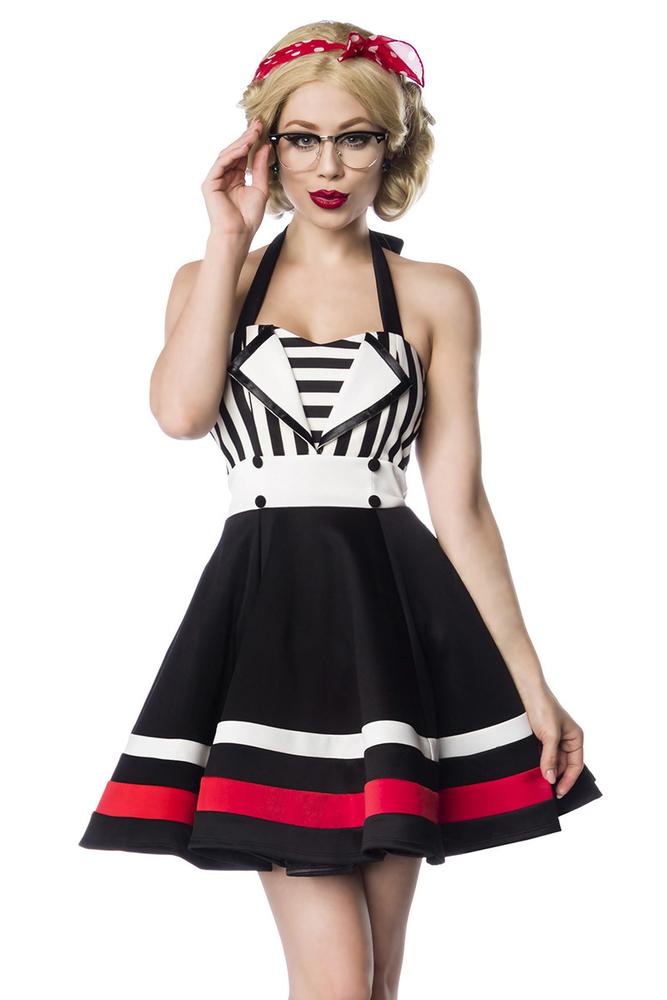 Lea Neckholder-Kleid mit Streifen - Schwarz-Weiss, 52,00