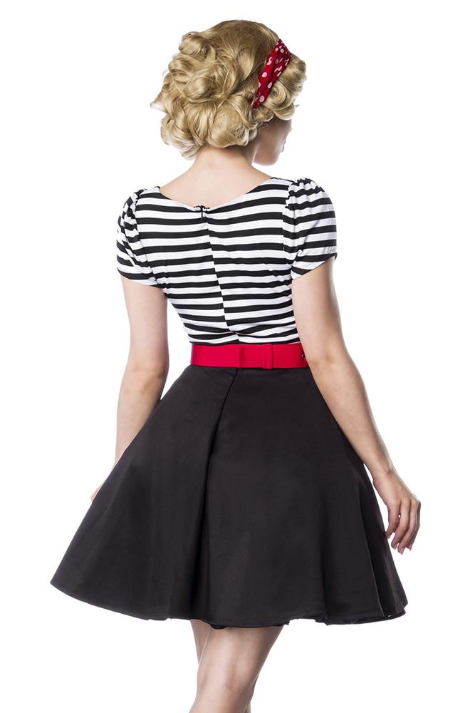 Paige Retro-Kleid mit Streifen und Gürtel - Schwarz-Weiss ...