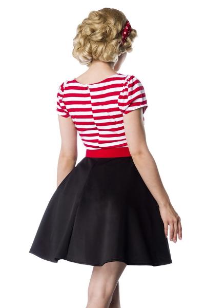 100% authentic 46352 f2a0e Paige - Retro-Kleid mit Streifen und Gürtel - Schwarz-Weiss-Rot