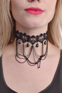 Lace Bead and Chains Choker