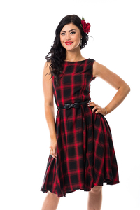 Olga Dress mit Schleifengürtel - Red Check